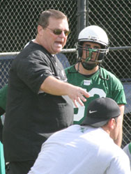 March 31, 2008-Honolulu, Hawaii-UH Head Coach Greg McMackin talks to players during Hawai'i first day of spring practices.  Photo by Mike Sullivan