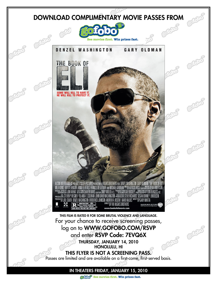 free advance screening of the movie: the book of eli | island sports