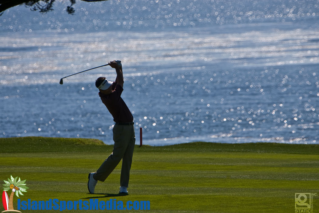 Dean Wilson tees off at Pebble Beach